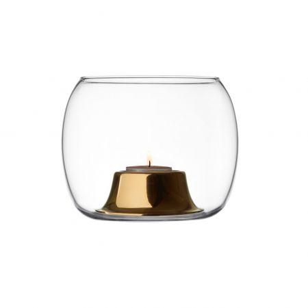 Žvakidė 141x115mm skaidri/auksinė | clear/rosegold