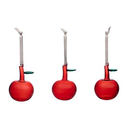 Iittala dekoracija stikliniai obuoliukai raudoni | red